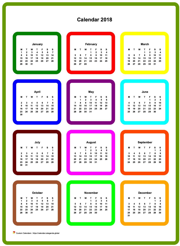 Calendar 2018 annual colored