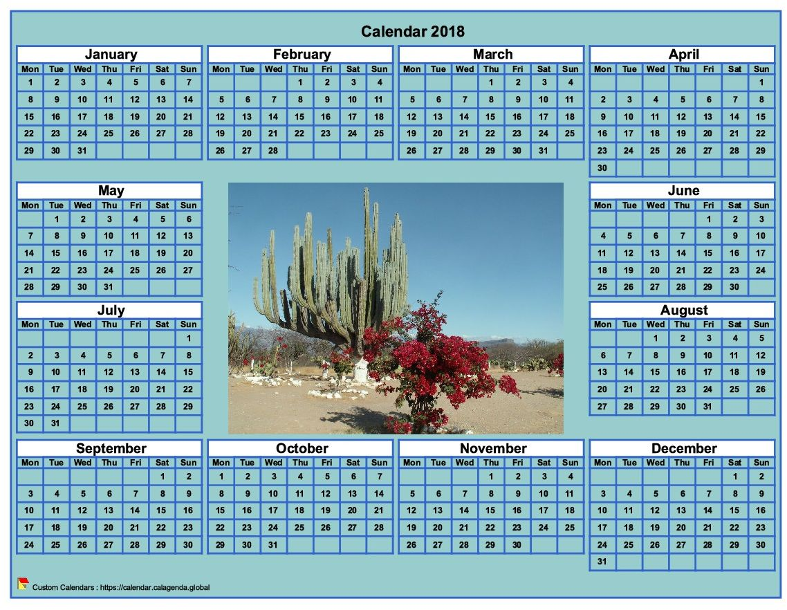 Calendar 2018 photo annual to print, cyan background, format landscape, desk or wall