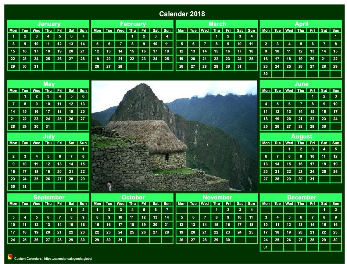 Calendar 2018 photo annual to print landscape, green background, format