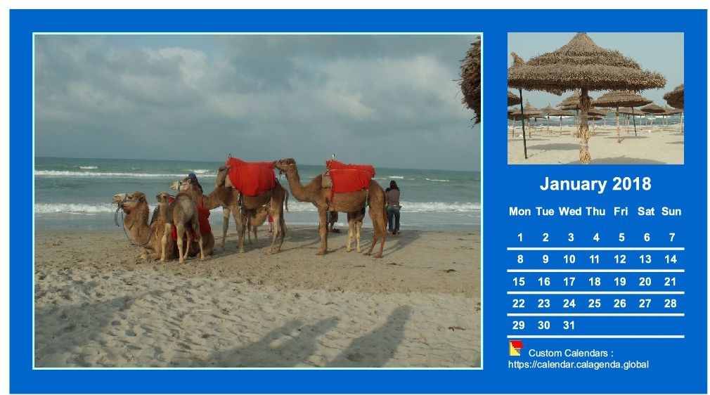 Calendar monthly 2018 with two photos