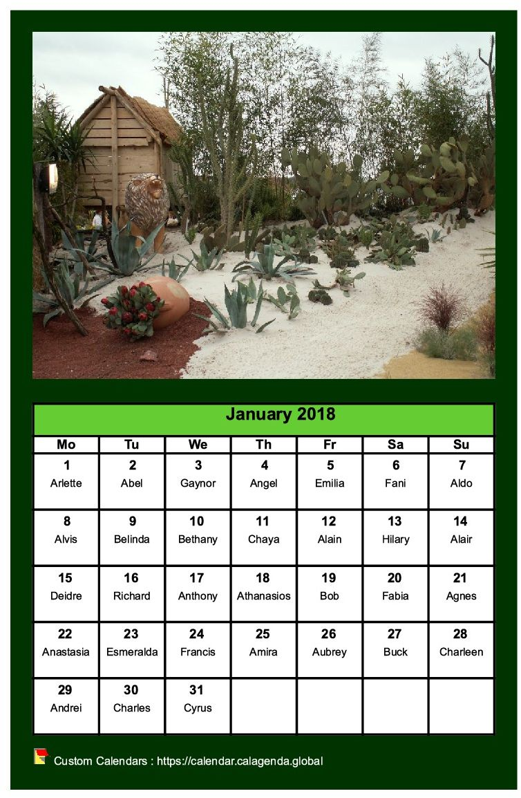 Calendar monthly 2018 with a different photo every month