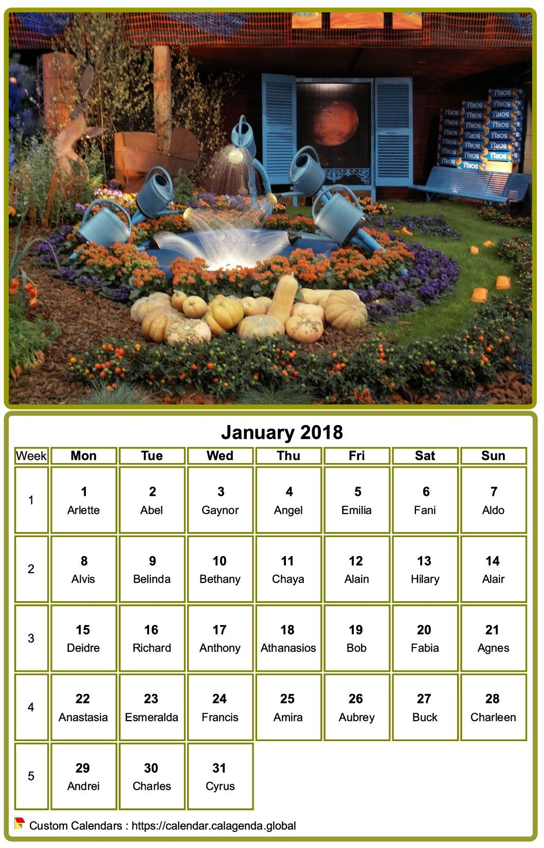 Calendar 2018 to print, monthly, with photo at the top