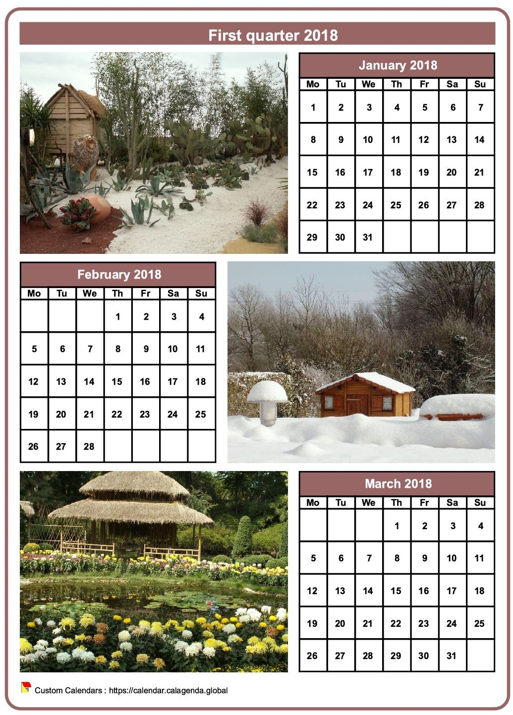 Calendar 2018 quarterly with a different photo every month