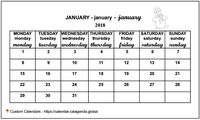 January 2018 calendar for primary schools