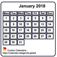Monthly 2018 mini white calendar