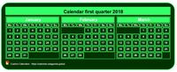 2018 quarterly mini green calendar