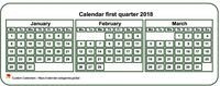 2018 quarterly mini white calendar