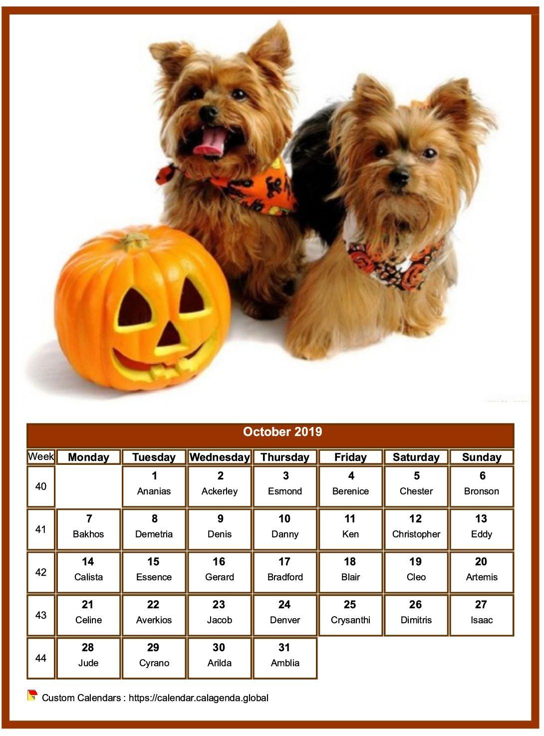 Calendar october 2019 dogs