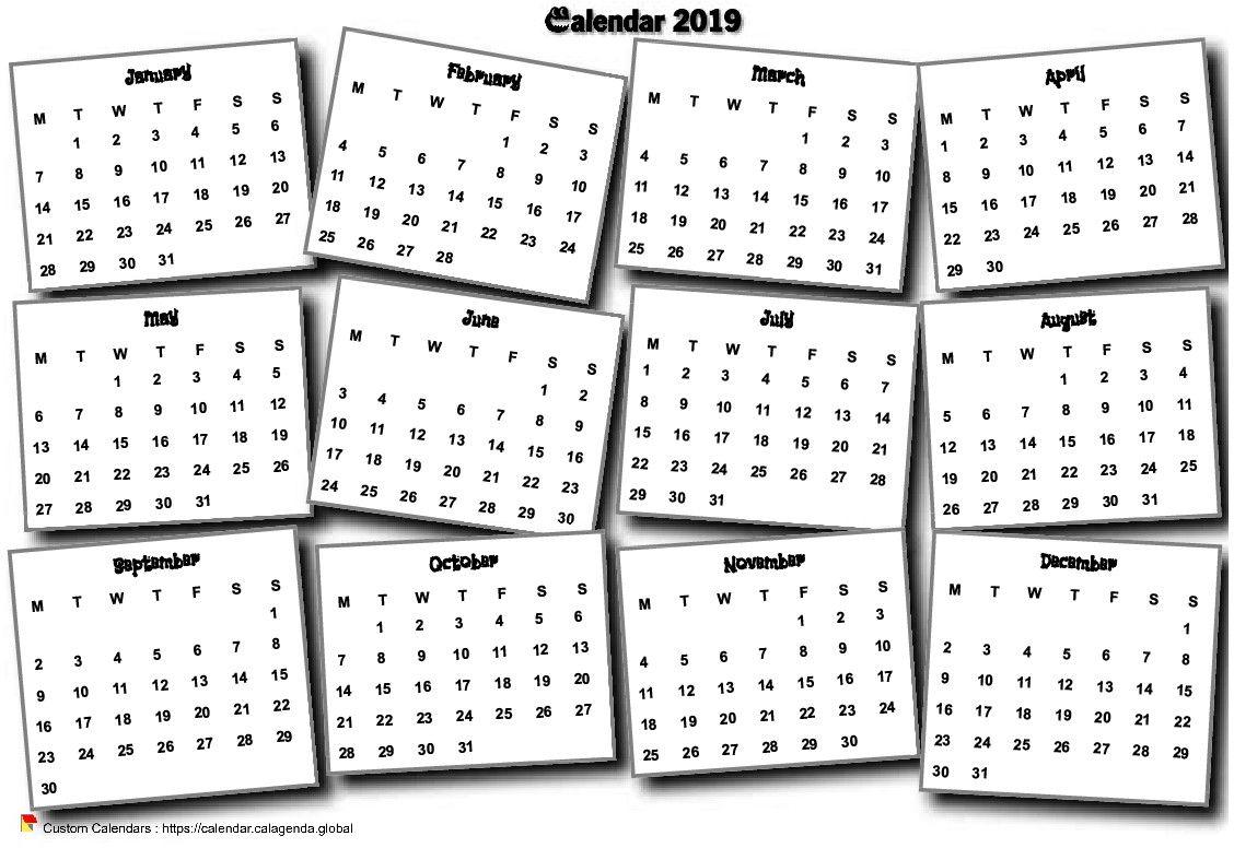 Calendar 2019 annual 3D pell-mell