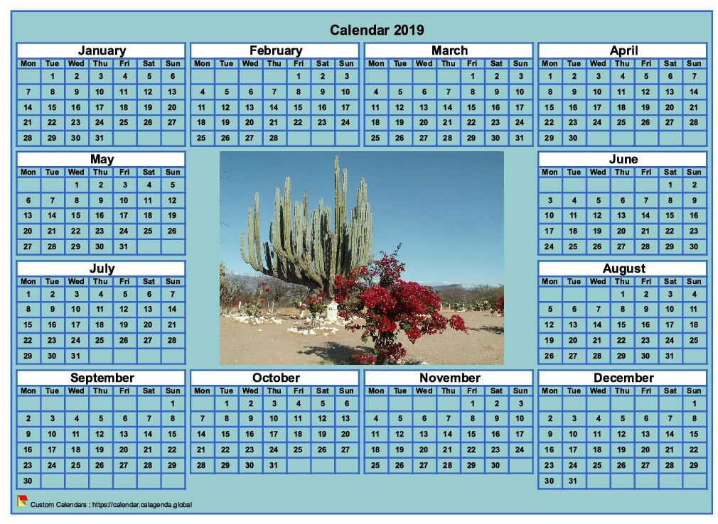 Calendar 2019 Photo Annual To Print Cyan Background Format