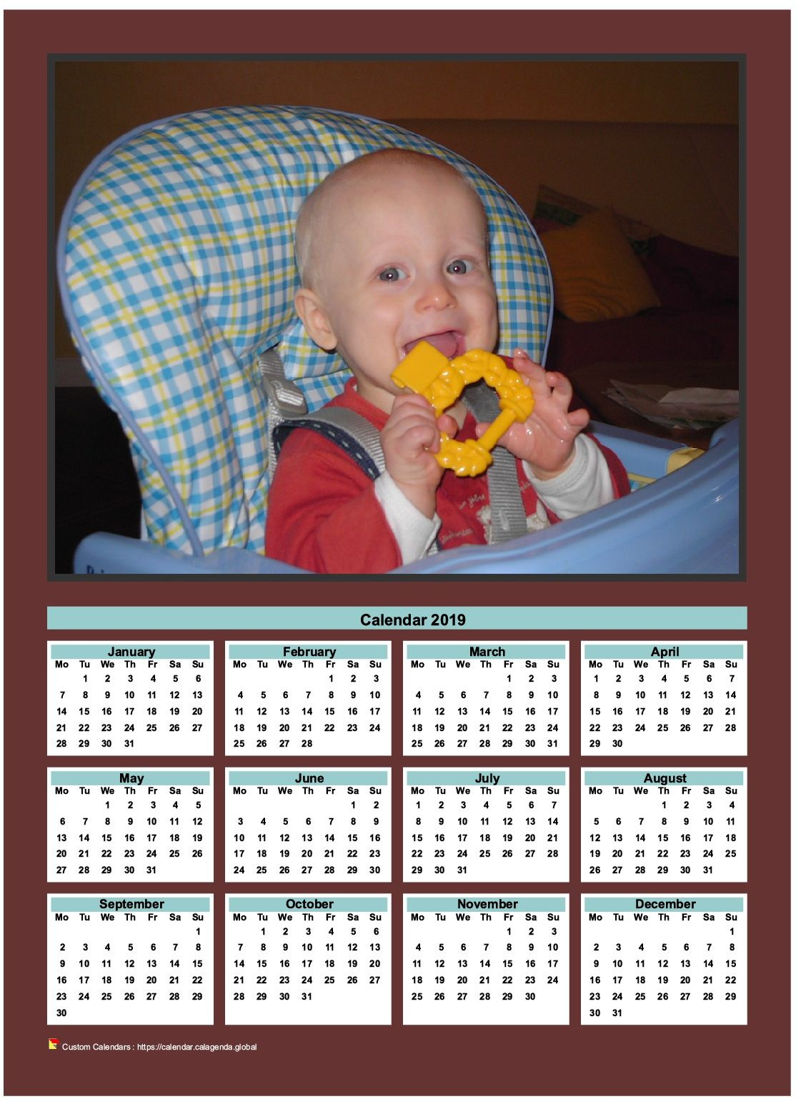 Calendar 2019 annual to print with family photo