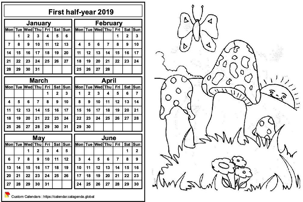Calendar 2019 to color half-year, format landscape, for children