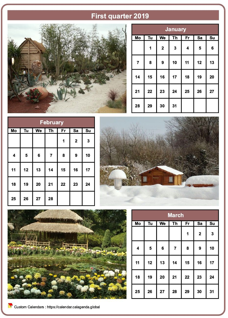 Calendar 2019 quarterly with a different photo every month