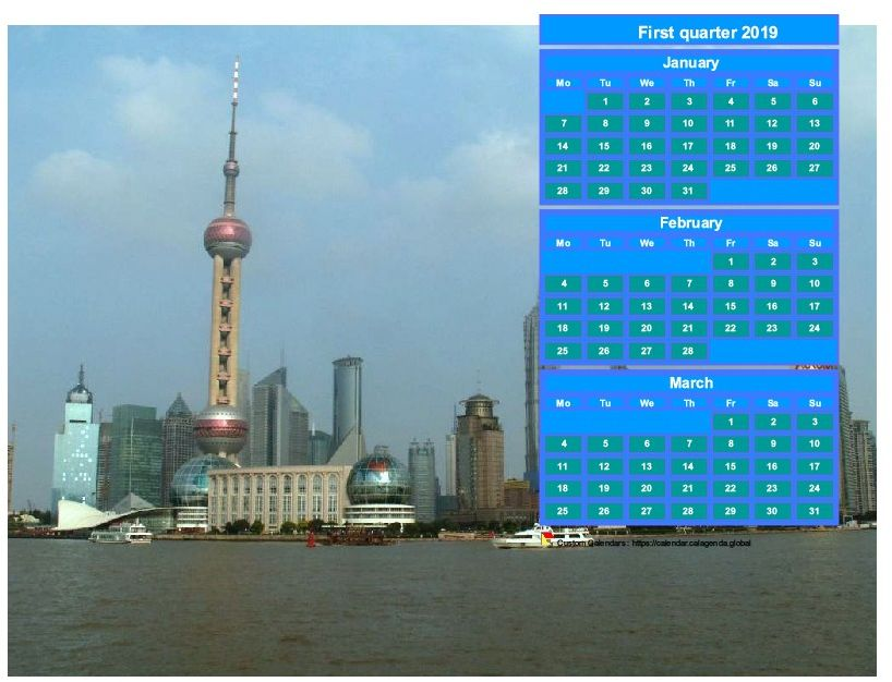 Calendar 2019 to print quarterly, format landscape, above the right part of a photo (Shangaï).