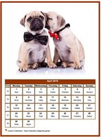 April 2019 calendar of serie 'dogs'