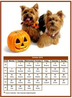 October 2019 calendar of serie 'dogs'
