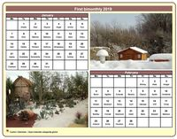 2019 two-month calendar with a different photo each month