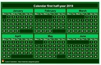2019 semi-annual mini green calendar