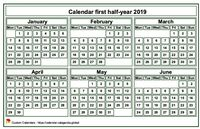 2019 semi-annual mini white calendar