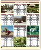 2019 half-year calendar with a different photo each month