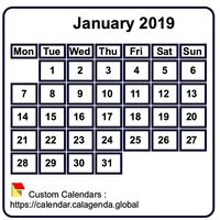 Monthly 2019 mini white calendar