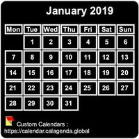 Monthly 2019 mini black calendar