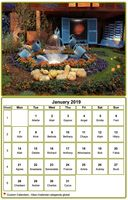 Monthly calendar with picture at the top