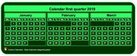 2019 quarterly mini green calendar