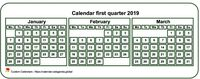 2019 quarterly mini white calendar