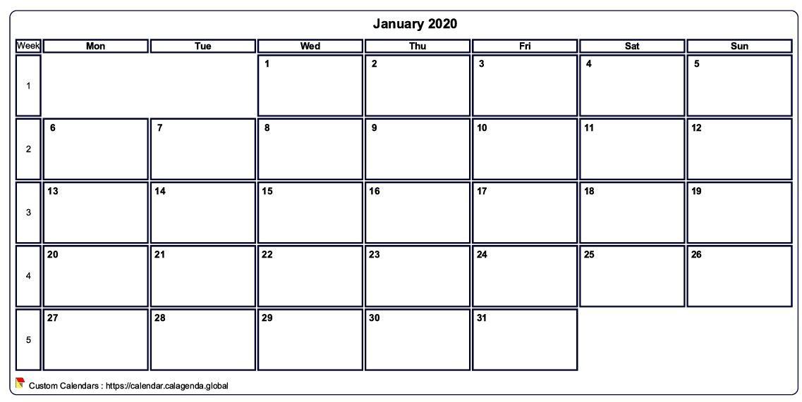 Calendar january 2020