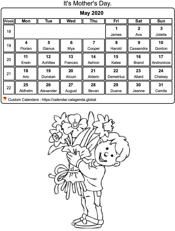 Calendar coloring may 2020