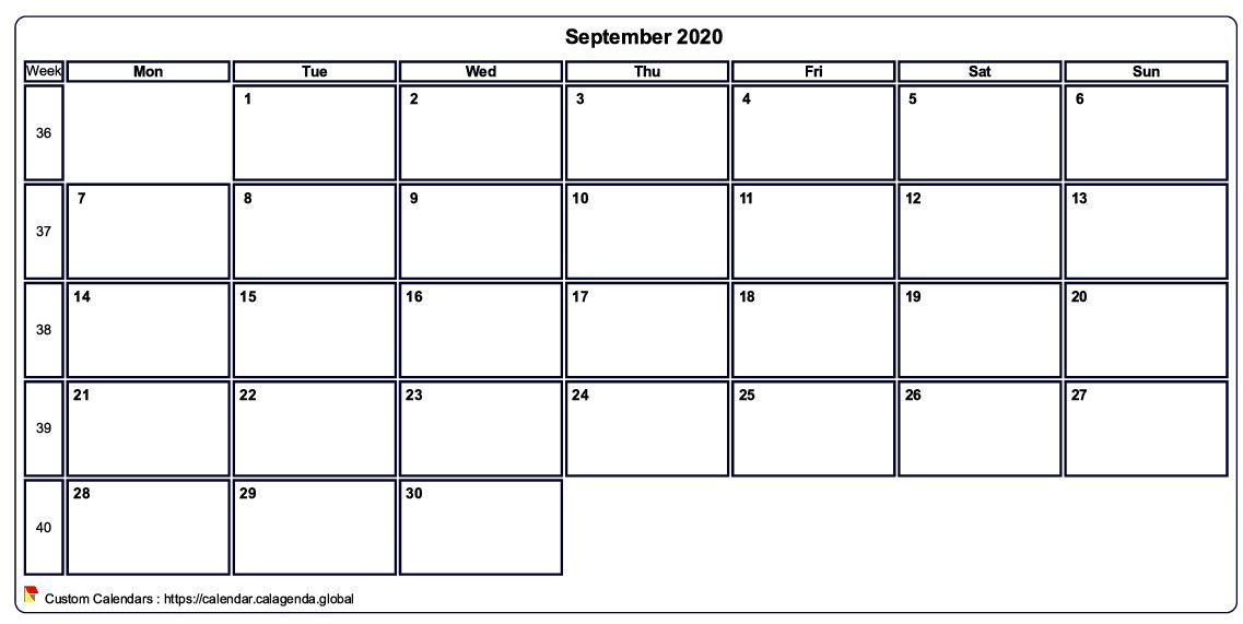 Calendar september 2020