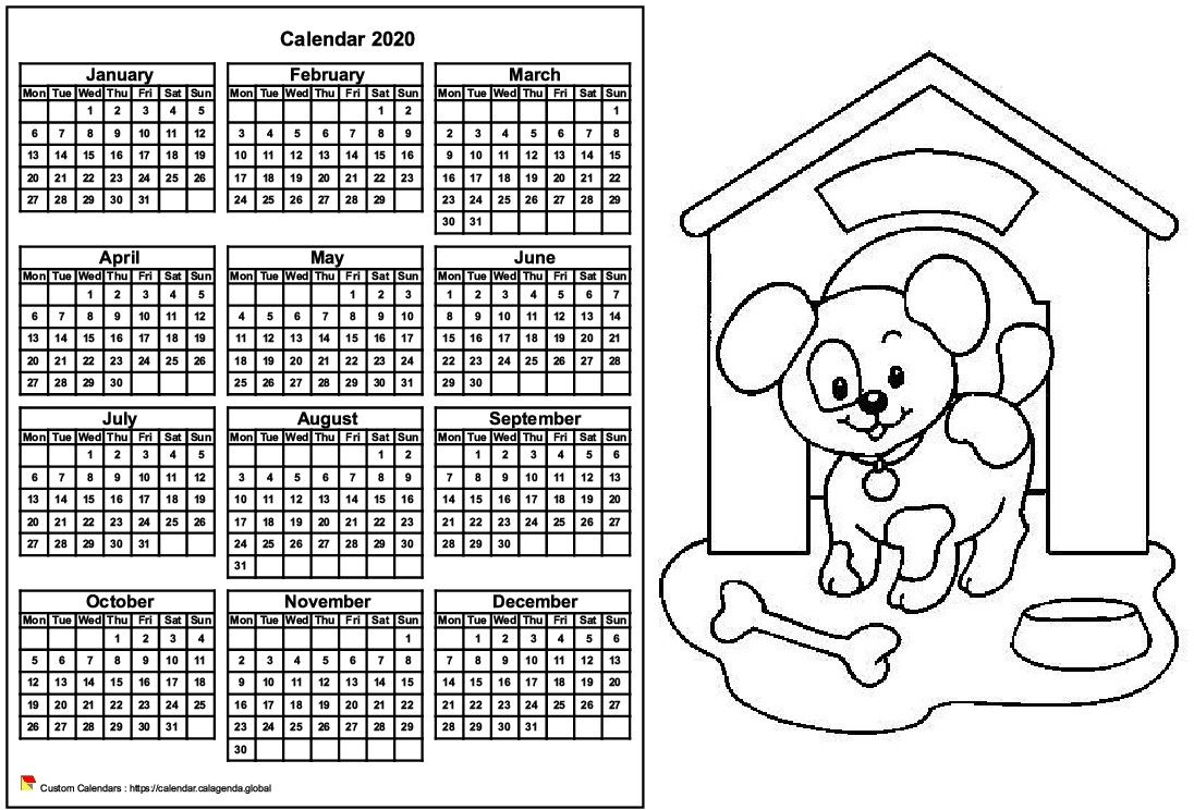 Calendar 2020 to color annual, format landscape, for children