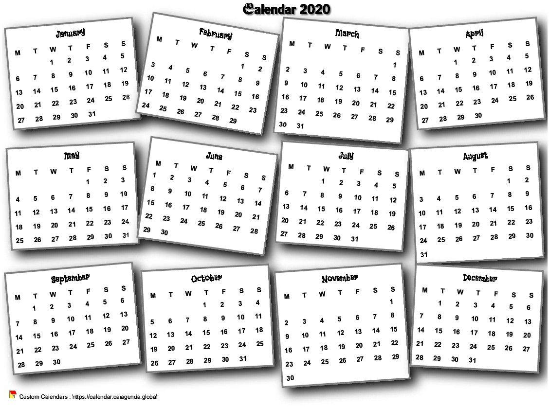 Calendar 2020 annual 3D pell-mell