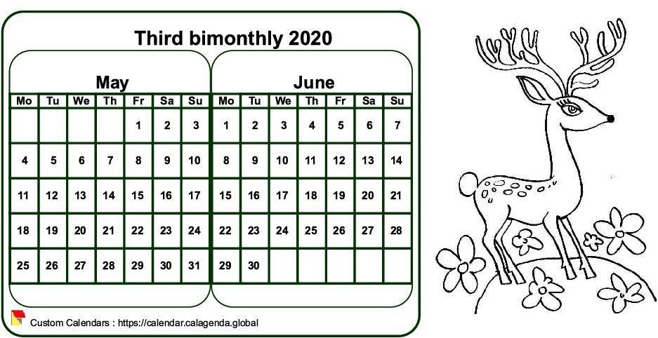 Calendar 2020 to color bimonthly, format landscape, for children