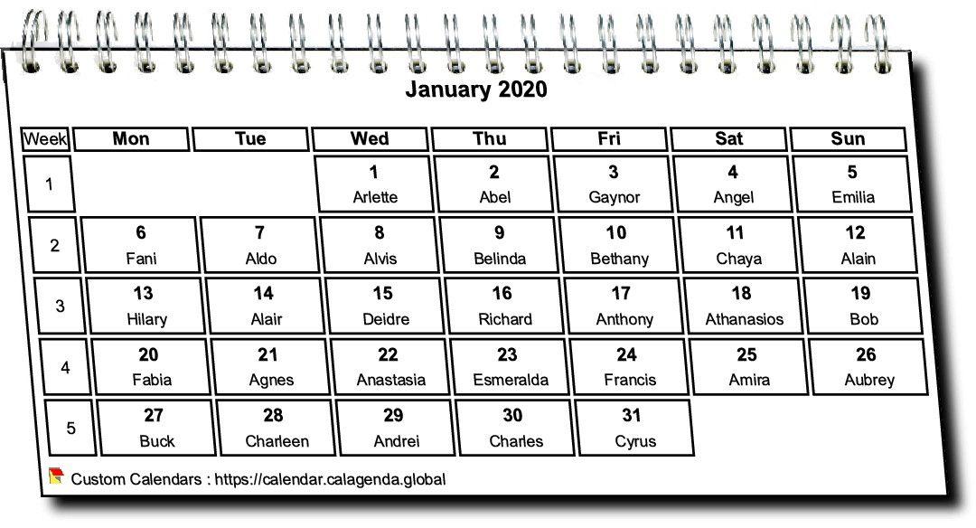 Calendar monthly 2020 in spirals