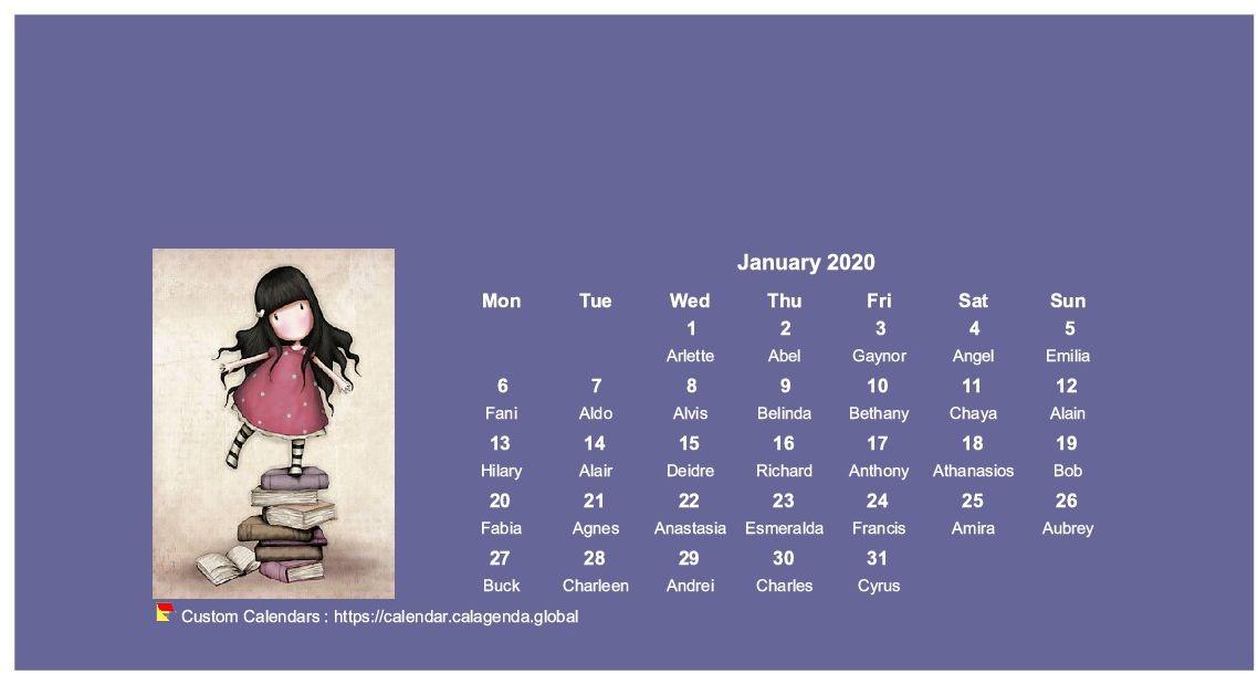 Calendar monthly 2020 Gorjuss