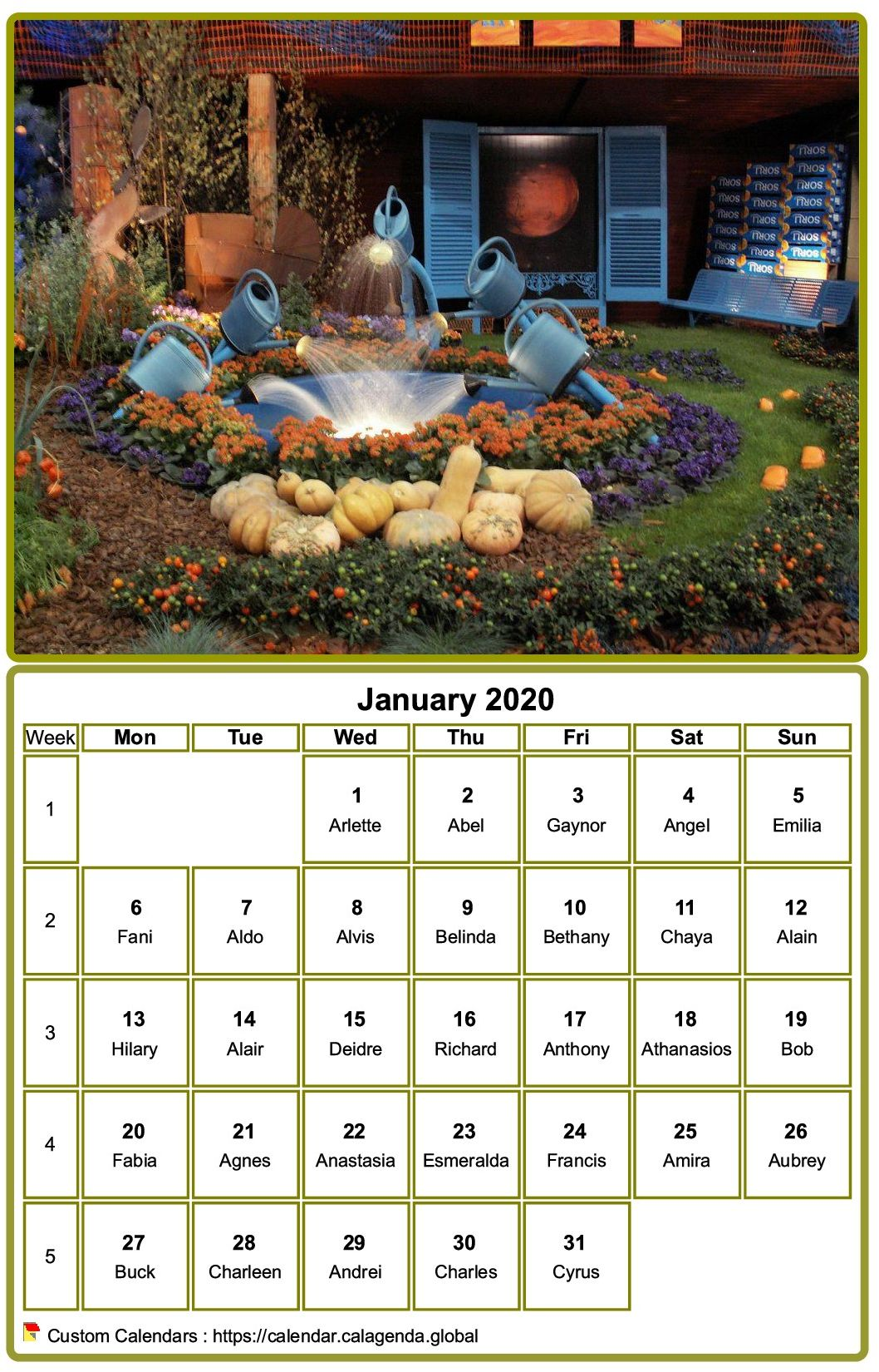 Calendar 2020 to print, monthly, with photo at the top