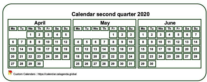 Calendar 2020 to print quarterly, tiny pocket format, white background