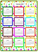 2020 annual color calendar