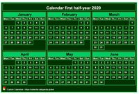 Semi-annual mini green calendar