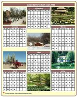 Half-year calendar with a different photo each month