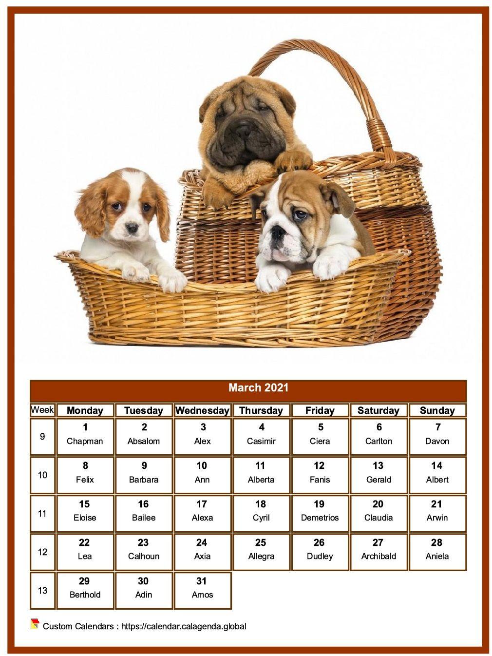 Calendar march 2021 dogs