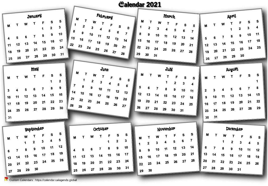 Calendar 2021 annual 3D pell-mell