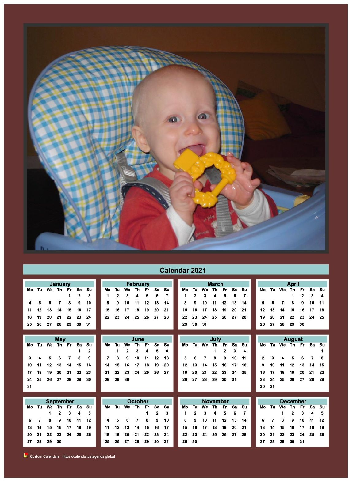 Calendar 2021 annual to print with family photo