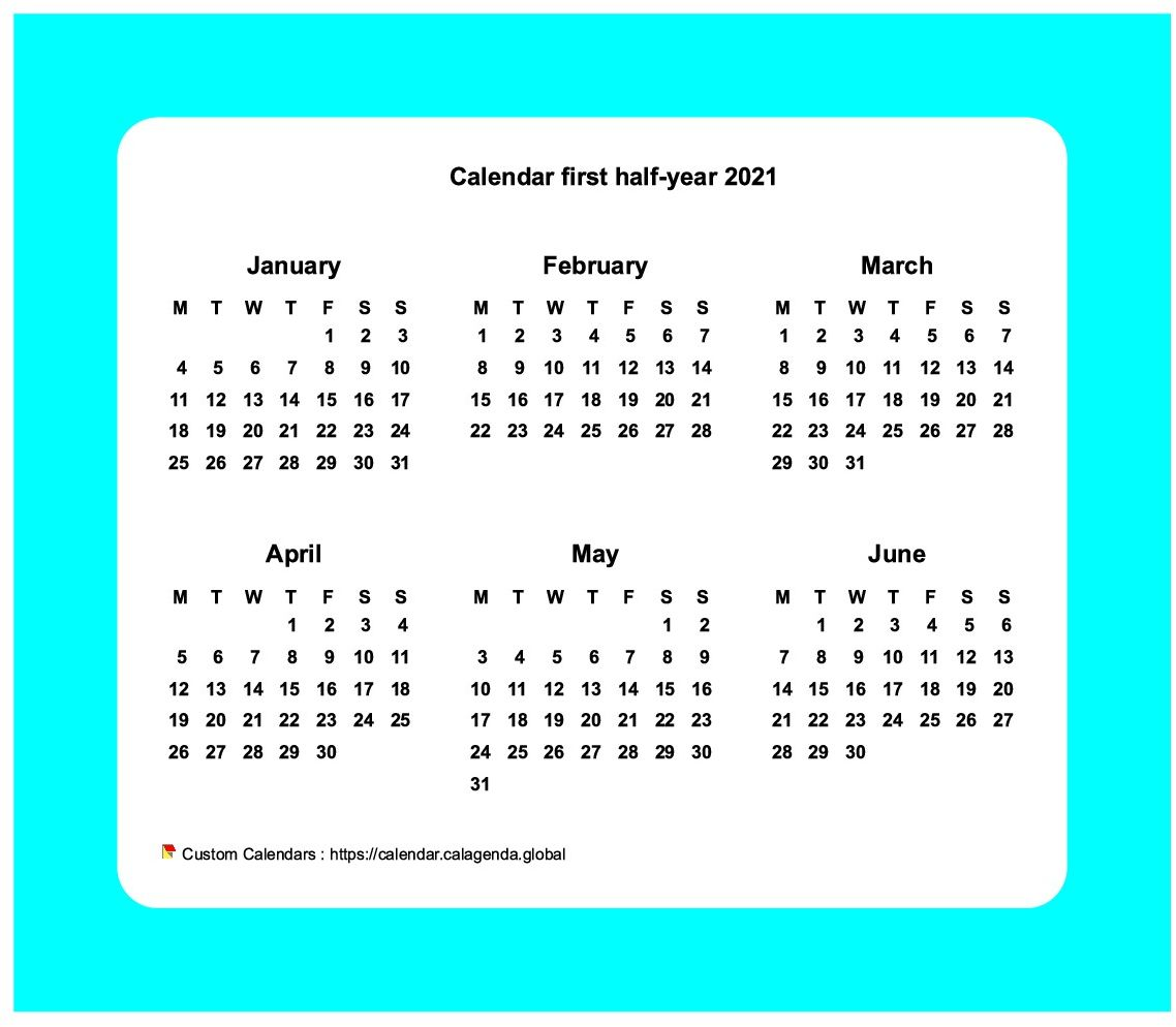 Calendar 2021 half-year with border