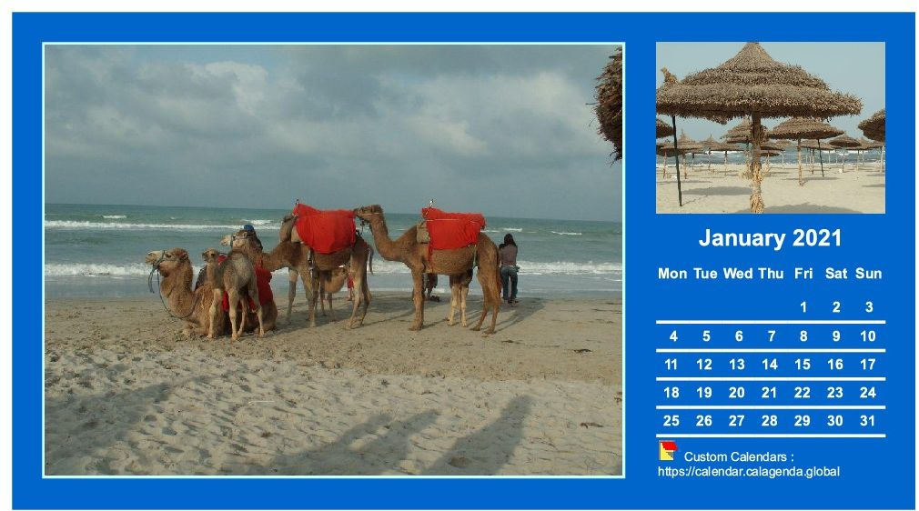 Calendar monthly 2021 with two photos
