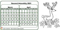 Two-month coloring calendar