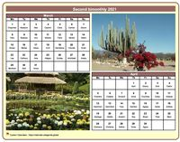 2021 two-month calendar with a different photo each month