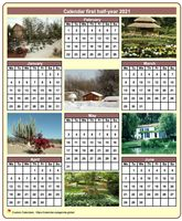2021 half-year calendar with a different photo each month